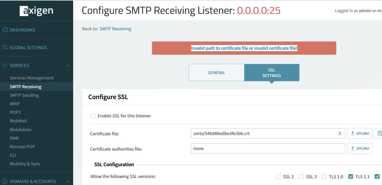 SSL Certificate error - General Configuration - Axigen