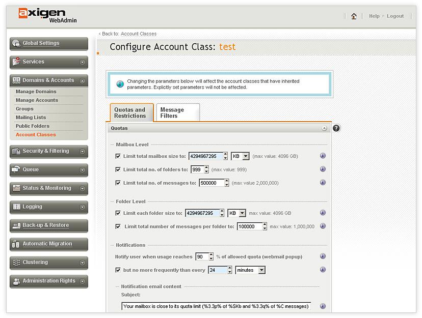 Screenshot für AXIGEN Mail Server Beta