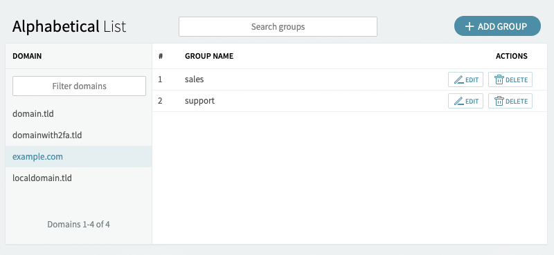 Managing Groups in Axigen