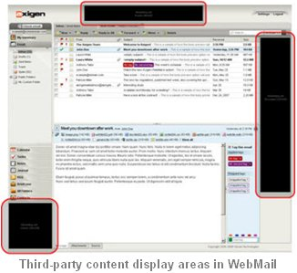 Third-party content display areas in WebMail