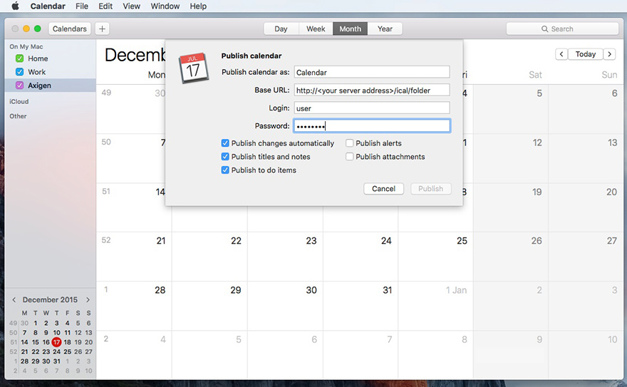 How to publish events using Apple Calendar on Mac OS X | Axigen