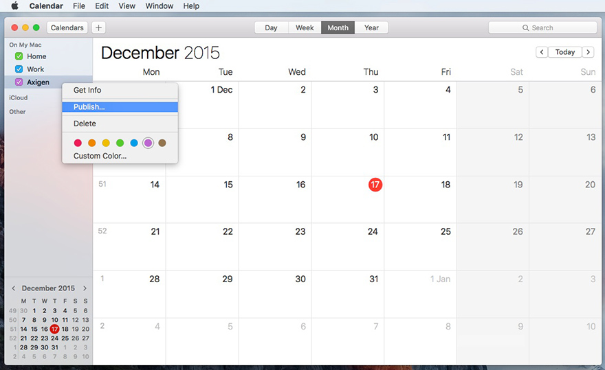 How To Publish Events Using Apple Calendar On Mac Os X Axigen
